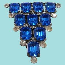 Art Deco Triangular Shield Shaped Blue Rhinestone Dress Clip