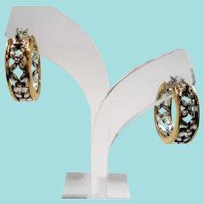 Napier Goldtone Silvertone Floral Hoops Pierced Earrings