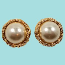 Textured Goldtone Imitation Pearl Cabochon Clip On Earrings