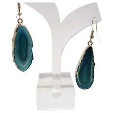 Textured Silvertone Metal Translucent  Blue Glass Dangle Pierced Earrings