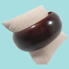 Bakelite Wide Chunky Rootbeer Brown Bangle Bracelet