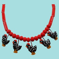 Flying Colors Red Black Polka Dotted Chickens Hens Ceramic Beaded Necklace