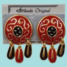 Fernando Original Large Red Enameled Dangle Pierced Earrings  NOS MOC