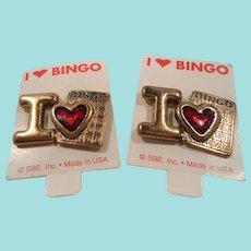 Pair I Love Bingo Enameled Tac Back Pins NOS MOC