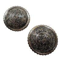 Spain Round Textured Silvertone Metal Scatter Pins