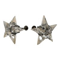 Dimensional Star Shaped Faceted Clear Lucite Adjustable Screw On Earrings