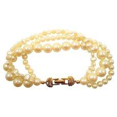 Triple Strand Imitation Pearls Beaded Bracelet