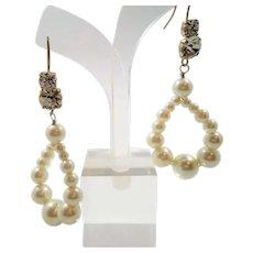 Long Dangle Imitation Pearls Oval Shaped Hoops Pierced Earrings