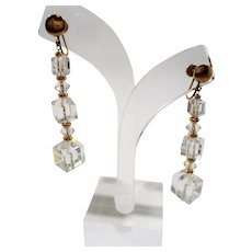 Long Dangle Faceted Crystal Cubed Beaded Adjustable Screw On Earrings