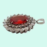 Large Oval Shaped Red Clear Cubic Zirconium Pendant