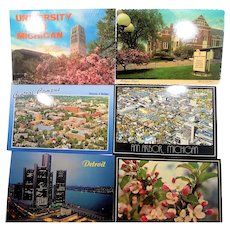 Michigan State Travel Souvenir Unused Photo Post Card Lot Circa 1980s