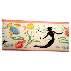 Dex Wallpaper Screen Printed Border Mermaids Sea Shells Designs NOS