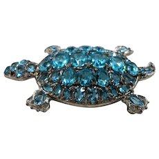 Huge Aqua Blue Open Back Crystal Stones Turtle Statement Brooch