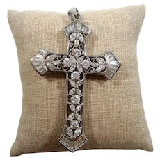 Dimensional Ornate Cubic Zirconia Cross Pendant