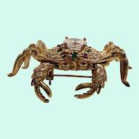 Dimensional  Genuine Gemstones Cubic Zirconium Articulated Crab Brooch