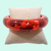 Chunky Thick Red  Orange Aspirin Dot Lucite Bangle Bracelet