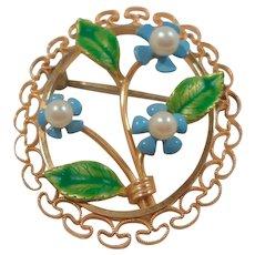 Krementz Dainty Dimensional Enameled Genuine Pearls Forget Me Not Floral Brooch