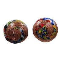 Murano Millifiori Coppertone Metallic Art Glass Clip On Earrings