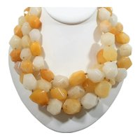 Bold Chunky Triple Strand Genuine Faceted Polished Stones Beaded Necklace