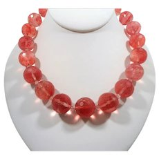 Large Chunky Faceted Pink Genuine Stone Beaded Necklace Ornate Silvertone Toggle Clasp