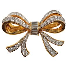 Swarovski Large Dimensional Crystal Rhinestone Double Bow Brooch