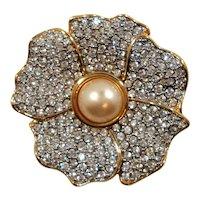 Swarovski Dimensional Imitation Pearl Crystal Rhinestone Flower Brooch