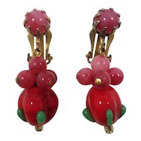 Red Pink Lampwork Glass Beaded Dangle Clip On Earrings