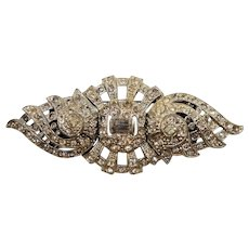 Art Deco Clear Rhinestone Duette Brooch