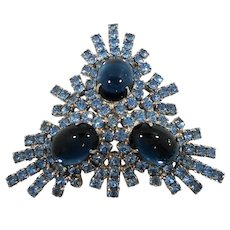 Large Dimensional Triangular Blue Glass Rhinestone Statement Brooch