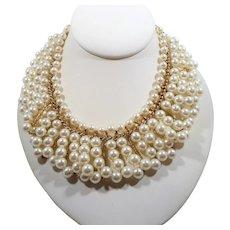 Layered Goldtone Metal Imitation Pearl Beaded Loop Dangle Choker Necklace