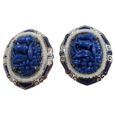 Coro Textured Floral Blue Silvertone Imitation Pearl Pair Dress Clips