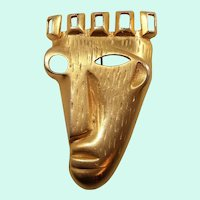 Large Textured Goldtone Metal Abstract Style  Mask Face Statement Brooch