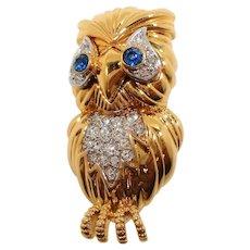 D'Orlan Dimensional Rhinestone Owl Brooch
