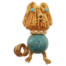 Dimensional Shaggy Wire Dog Round Blue Glass Cab Brooch