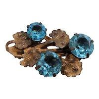 Small Ornate Goldtone Metal Dress Clip Aqua Glass Stones