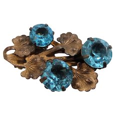 Small Ornate Goldtone Metal Dress Clip Aqua Glass Stones