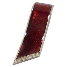 Red Enameled Clear Rhinestone Dress Clip