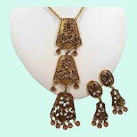 Goldette Long Textured Goldtone Dangle Crystals Necklace  Clip On Earrings Set