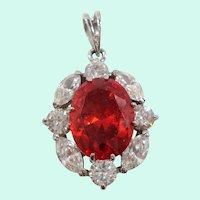 Large Oval Orange Red Cubic Zirconium Pendant