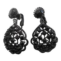 Scalloped Lacy Black Japanned Metal Glass Stones Dangle Clip On Earrings