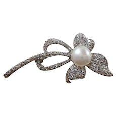 Dimensional Pave CZs Imitation Pearl  Flower Brooch