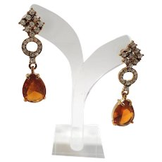 Citrine Orange Glass Oval Shaped Dangle Pierced Rhinestone Earrings