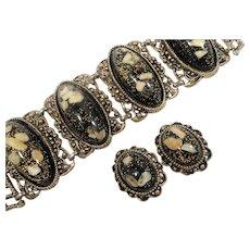 Chunky Black Confetti Glitter Sea Shell Lucite Bracelet Clip On Earring Set