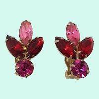 Pink Red Magenta Rhinestones Goldtone Clip On Earrings
