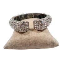 Dimensional Thick Pave Rhinestone Hinged Cuff Bracelet