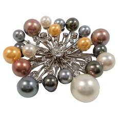 Abstract Atomic Style Dimensional Imitation Pearl CZ Sterling Silver Brooch