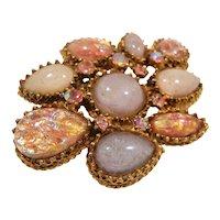 Pink Opalescent Art Glass Stones Rhinestone Goldtone Metal Brooch