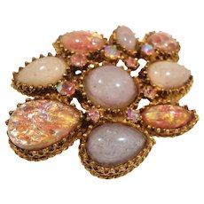 Pink Opalescent Art Glass Stones Rhinestone Goldtone Metal Brooch