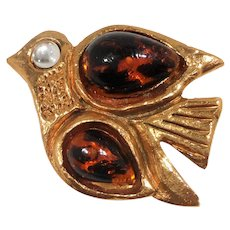 Viva Paquita France Flying Bird Glass Cabochons Goldtone  Metal Brooch