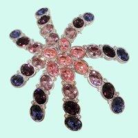 Swarovski Large Dimensional Purple Pink Rhinestone Abstract Starfish Brooch